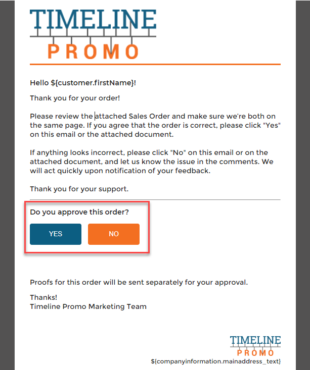 Email template including approval buttons
